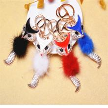 NEW Fox Fashion Keychain Rhinestone Crystal Plush Charm Cute Animal Gift(China)