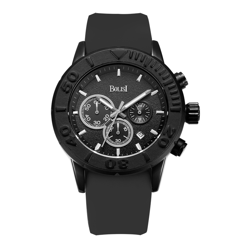 Business  Men Watches Men Waterproof &amp; Chronograph Silicone Band Quartz Wrist Wristwatch Military Male Clock<br>