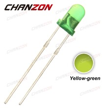 CHANZON 100pcs LED 3mm Diffused Yellow Green Color 20mA DC 2V Round Wide Angle DIP 3 mm Light-Emitting Diode PCB LED Lamp Light