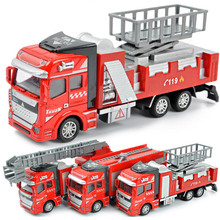 3pcs/lot Fashion Kids Educational Toys 1:48 Metal and Plastic Pull back Fire Truck Model Toy