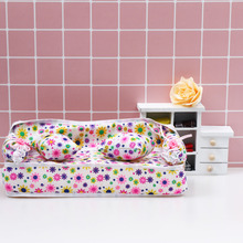 Dollhouse Mini Furniture Flower Sofa +2 Cushions For Doll House Accessories Beauty Simculation Couch 3D Model Baby kids toy(China)
