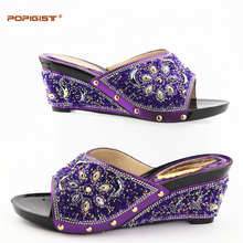 Purple flower design with full shining crystal popular in African wedding for platform Wedges Shoes Woman comfortable hot sales(China)