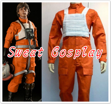 2016 Newest Fancy Star Wars X-Wing Rebel Fighter Pilot Orange Jumpsuit + White Vest Cosplay Costume