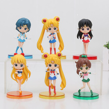 8cm 3pcs/lot Anime Sailor Moon Figure Toys Cute Mercury Hino Rei PVC Action Model Collectible Dolls Best Brithday Gifts(China)