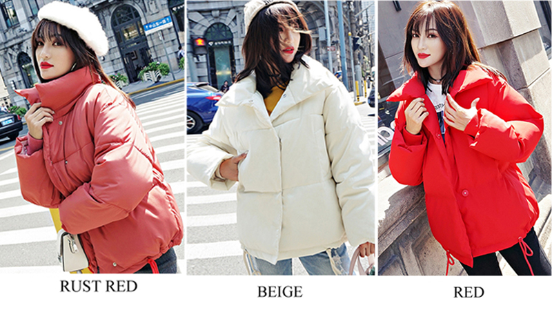 Korean Style 19 Winter Jacket Women Stand Collar Solid Black White Female Down Coat Loose Oversized Womens Short Parka 3