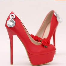 2017 HOT!! free shipping Red Crystal Diamond Wedding Shoes TG640 high with fine round with shallow mouth flowers banquet shoes