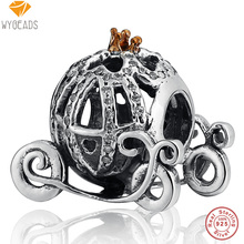 WYBEADS 925 Sterling Silver Pumpkin Coach CZ Charms European Bead Fit Snake Chain Bracelet Bangle DIY Accessories Jewelry