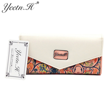2017 Hot Sale Envelope Women Wallet Flowers Printing Five Colors PU Leather Wallet Long Ladies Clutch Coin Purse M0158(China)