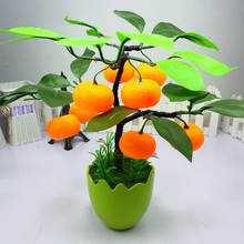 Emulate Bonsai Simulation Decorative Home Artificial Flowers Fake Green Pot Plants Decor Fruit Orange Peach Lemon Tree zl7(China)