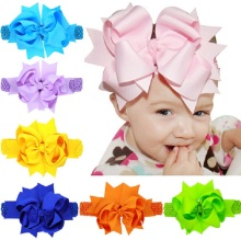 Oversized 8 inch Double Layered Bow with Sheer Top Layer clipped to Crocheted Headband Large bow Flower girl headband 1pc HB178(China)