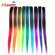 Alileader Clip In Hair Extensions 50Cm 20 Inch Long Ombre One Piece Synthetic Straight Fake Hair Clip Tow Tone Pink Purple Blue(China)