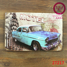 Motel, vintage tin signs retro metal plate wall decoration for home bar cafe garage and so on