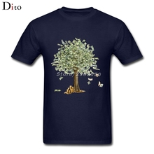 Dollars Money Tree T Shirt Men Unique Custom Short Sleeve Boyfriend's XXXL Party Tee Shirts(China)