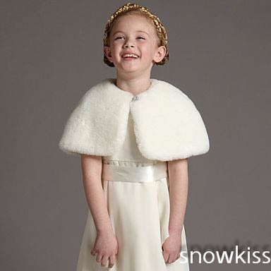 High Quality Short 2016 Girls Cape Wedding Cloaks Faux Fur Jacket For Winter Kid Flower Girl Shrug Outerwear Coats<br>