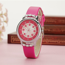 HEZONE Fashion Flowers Quartz Watch For Girl Waterproof PU Leather Strap Clock Wristwatch Casual Children Kids Wrist Watches(China)