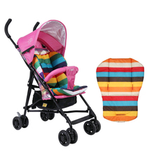 Universal Waterproof Soft Baby Stroller Cushion Rainbow Striped Liner Car Seat Head Body Support Pad Kid Chair Protection Pram