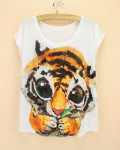 Baby tiger pattern summer top tees for women 2015 the western style female t-shirt novelty printed tshirt free shipping