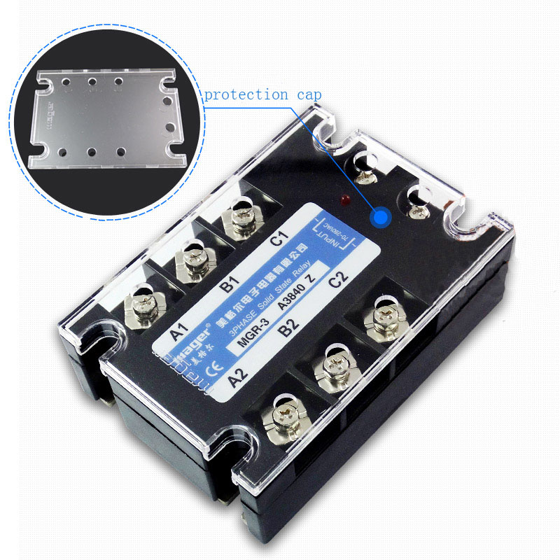 Free shipping 1pc High quality 40A Mager SSR MGR-3 3840Z AC-AC Three phase solid state relay AC control AC 40A 380V<br>