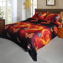 4Pcs 3D Bedding Outlet Duvet Cover Printed Bedding Set Butterfly Fire Pattern Home Textiles Quilt Cover Bed Sheet 2 Pillowcases(China)
