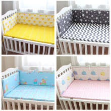 Buy 1PCS Baby Crib Cotton Bumpers Crib Newborn Cotton Linen Cot Bumper Baby Bed Protector Grey Stars Print Kids Bedding for $14.23 in AliExpress store