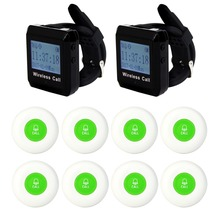 Wireless Pager System Call Restaurant Equipments Waiter 2pcs Wrist Watch Receiver+ 8pcs Green Call Transmitter Button 433MHz