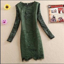 Autumn/Winter Deer Velvet Dress 2017 Korea Fashion Lace Thickening Render Unlined Upper Garment Plus Size Women Clothing BH076(China)