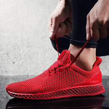Buy New Simple Men Spring Autumn Running Shoes Breathable Comfortable Mesh Black Red Gray Sneakers Male Outdoor Sport Light Trainers for $17.97 in AliExpress store