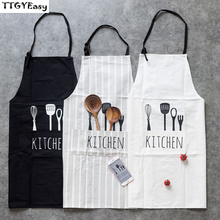 BBQ Bib Apron For Women Creative Fork Spoon Pattern Working Japanese Kitchen Cooking Baking Apron with Pocket Restaurant Cooking(China)