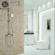 "Modern Wall Mount Shower Mixer Faucet Dual Handle 8"" Rainfall Thermostatic Bath Shower Faucet with Handshower"