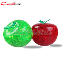 Free shipping 1pcs/lot Crystal Apple stereoscopic 3D puzzle Spatial thinking lighting assembly disassembly Apple Christmas gift
