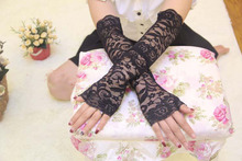 Black lace lady girl Sexy Disco dance costume party lace fingerless long driving sleeves gloves arm warmer free shipping