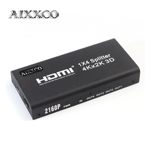 AIXXCO 3D 2k 4K HDMI 2160P HDMI Splitter 1X4 Hdmi Hub Repeater Amplifier 1.4 3D 1080p 1 in 4 out converter(China)