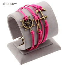 Multi Layer Love Anchor Owl Handmade Leather Wax Cord Braided Charm Bracelet Fashion Jewelry for Girls Boys Friendship Gift(China)