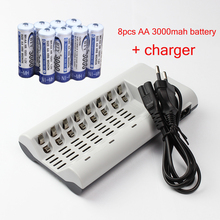 8pcs / lot AA Rechargeable battery + 8 Slots LED Light Indicator AA AAA NiCd NiMh Batteries Charger free shipping