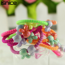 isnice 30pcs/lot Rabbit Ball Hair Rope Candy Color Elastic Hair Bands For Girl Kids Gum For Hair Rubber Bands Hair Accessories