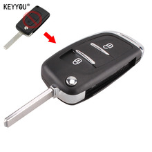 KEYYOU New 2 Button Modified Flip Folding Key Case FOB Case Shell  For Citroen C2 C3 C4 C5 C6 C8 CE0536 With LOGO
