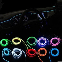 Car styling el products Colorful Flexible EL Wire Cold Neon Light for mercedes benz w211 w203 w210 w124 w204 w176 led accessorie(China)
