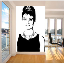 Classic black-and-white Photo Wallpaper Elegant Audrey Hepburn Wall Mural Canvas Silk POP Art wallpaper Room decor Living room