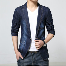 Spring Fashion Casual Slim Fit Blue Jean Blazer Men Black Denim Jacket Suit Male