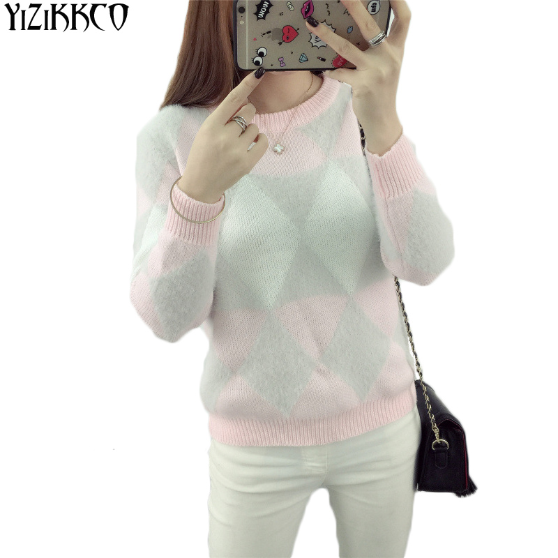 Women Sweater Pullover 2017 New Autumn Winter O-Neck Argyle Candy Pullovers Warm comfortable wool 3 colors Pull Femme XSS86(China (Mainland))