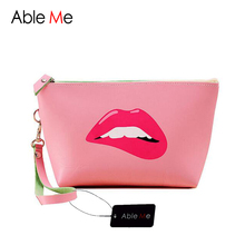 Necessaire Women Make Up Organizer Portable Lips Cosmetic Bag Waterproof PU Leather Wash Toilet Bag With Hand Strap Clutch Bag