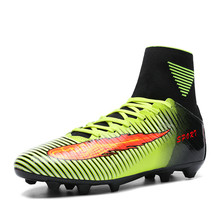 KERZER Soccer Shoes High Ankle Football Boots Long Spikes Training Shoes Men Soccer Shoes With Sock Breahtable Football Cleats
