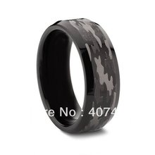 USA BRAZIL RUSSIA HOT SELLING Buy s New 8mm Camouflage Military Black Tungsten Wedding Ring - E&C Super Fashion Jewelry Store (-ratail store)