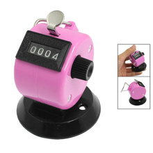 Promotion! Golf Pitch 4 Digit Number Clicker Hand Held Tally Counter Black Pink(China)