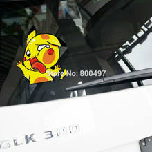 Car Styling Cartoon Animal Pikachu Pokemon Hitting the Glass Car Sticker Decals for Peugeot Opel Chevrolet Volkswagen Kia Ford(China)