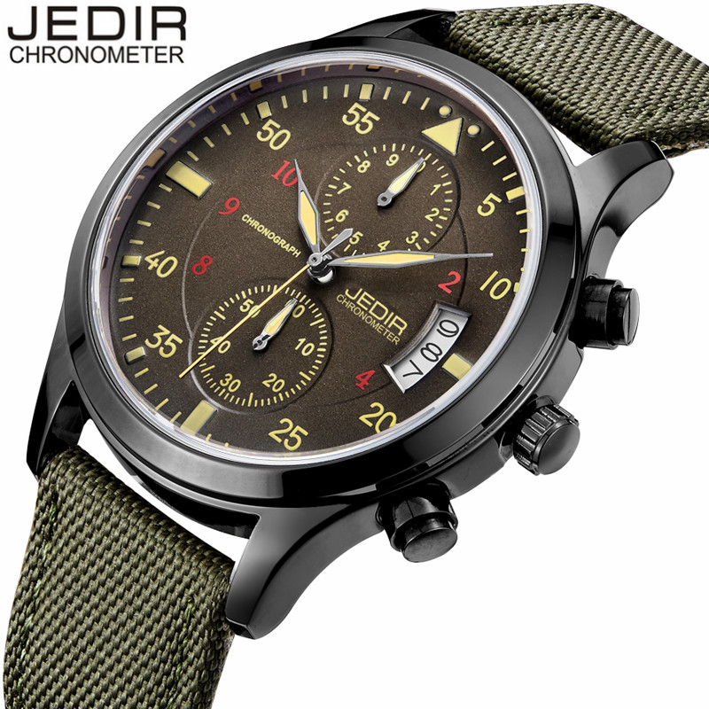 Mens Watches Top Brand Luxury JEDIR Military Watches Men Nylon Strap Wristwatch Chronograph Date Quartz Watch relogio masculino<br><br>Aliexpress