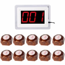 Hotel Calling System Wireless Pagers Waiter Call Bell Service 433 MHz Receiver Host One Key Wooden Button Transmitter F4409Y(China)
