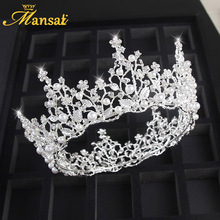 Bridal Jewelry Wedding Pearl Crown Wedding Jewelry European Style Large Round Crown Bride Accessories Wedding Dress Decorations(China)