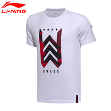 Li-Ning Men's Wade Basketball T-shirts Short Sleeve 100% Cotton Jersey LiNing T Shirt Sports Tees Tops AHSM307 MTS2626(China)