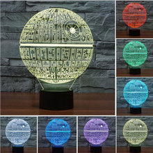3D Novelty Light lampada led Death Star Table Lamp 3D Bulbing Light Touch Lava Lamp Star Wars night light baby Figure Kids Gif